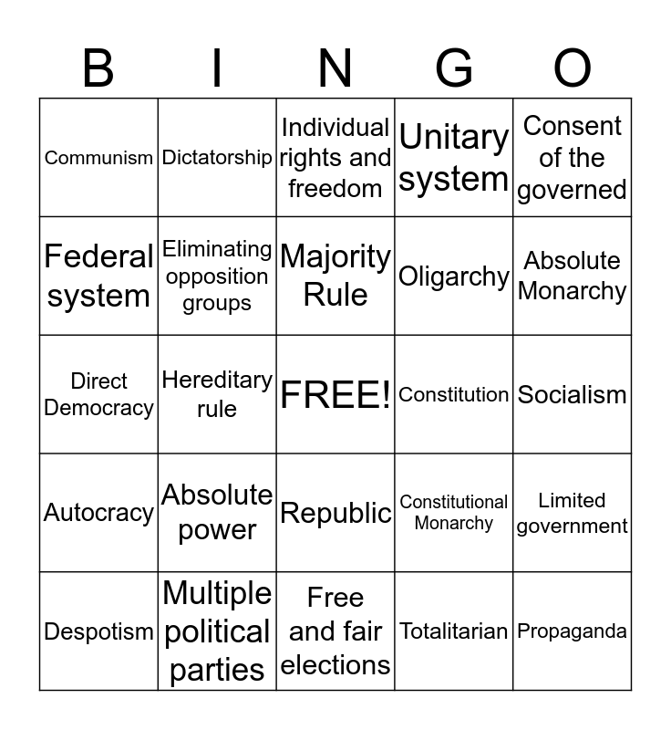 Forms of Government Bingo Card