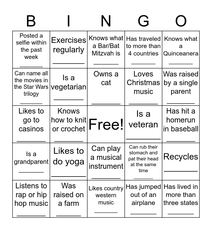 D  I  V  E  R  S  I  T  Y Bingo Card