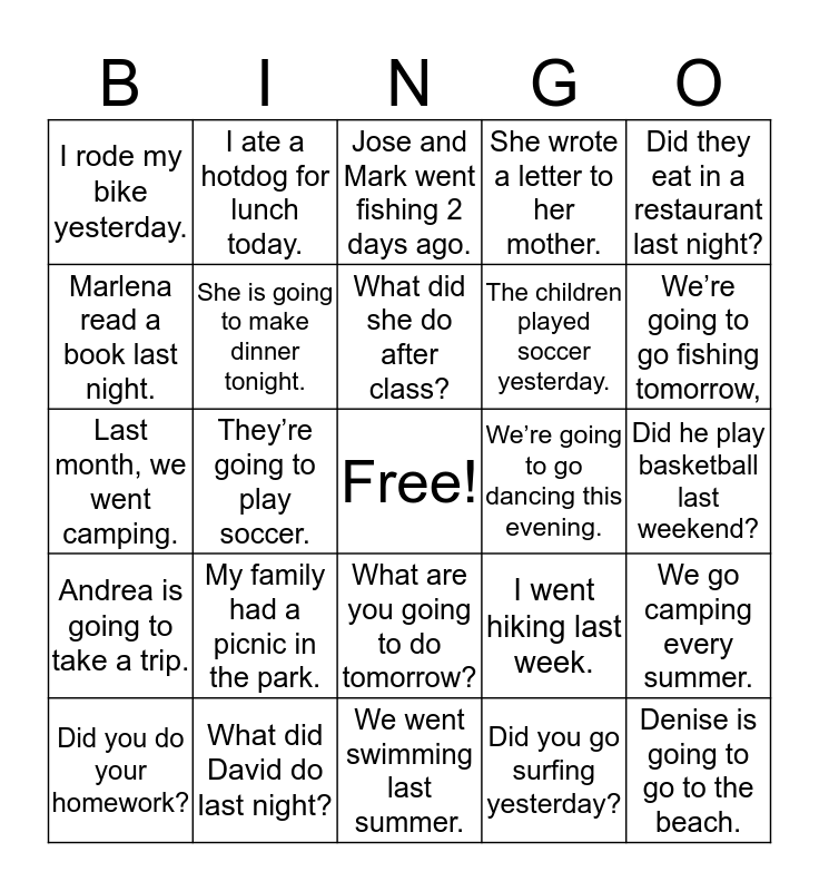 Unit 10 Bingo Card