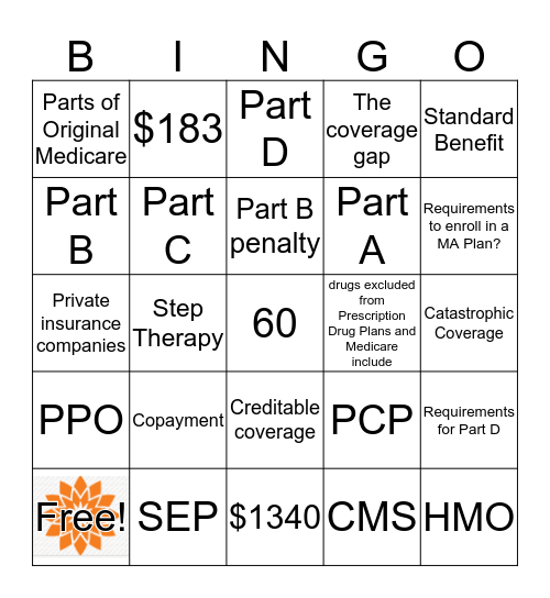 Medicare Review  Bingo Card