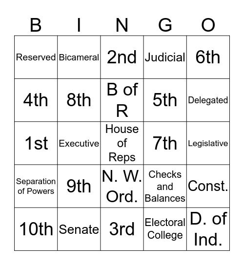 Historical Documents Bingo Card
