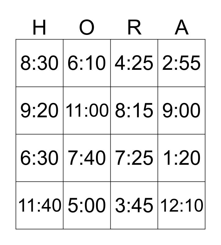 Wie spät ist es? Bingo Card