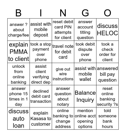 BLACKOUT BINGO - Phone Call Edition Bingo Card