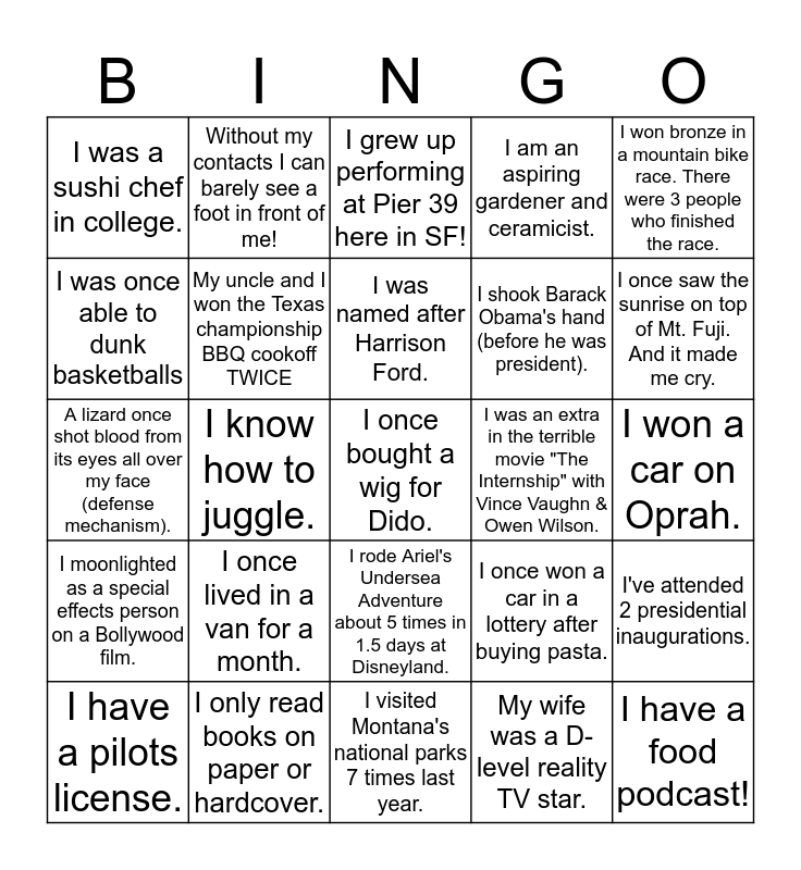 Product & Design Team FUN FACTS Bingo Card