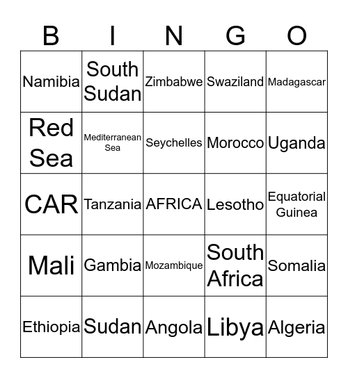 Africa Bingo Card