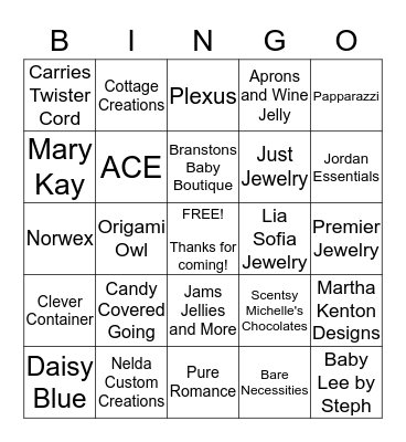 Ladies Day Out BINGO Card