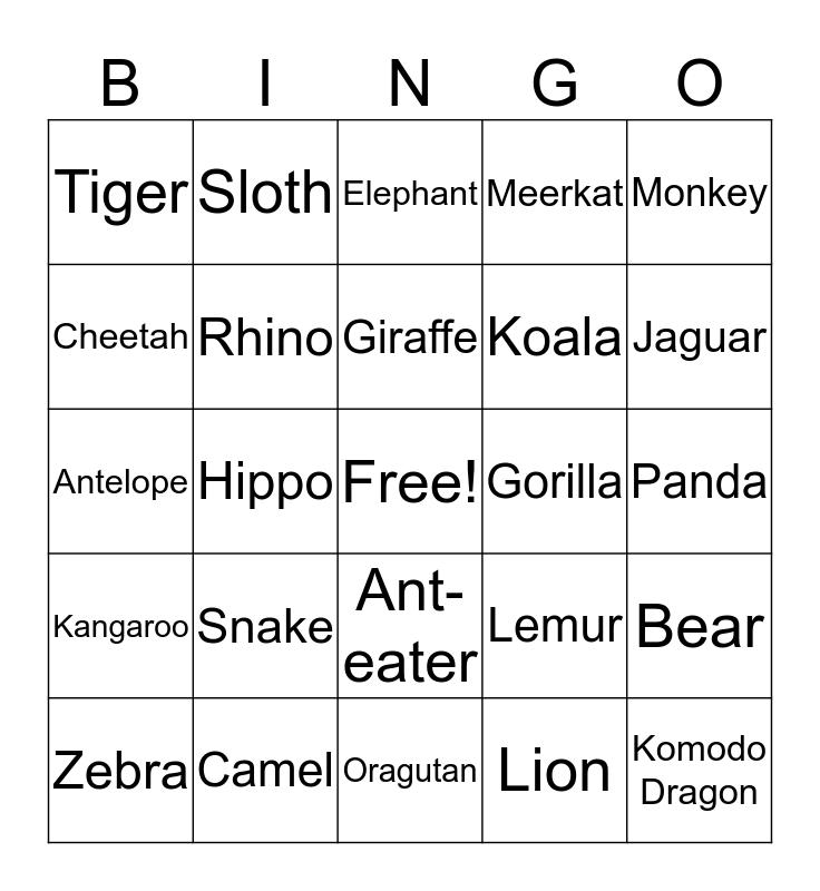 ZOO TIME Bingo Card
