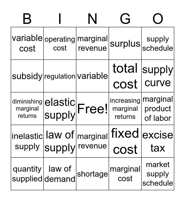 Supply Bingo Card