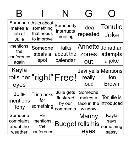 Meeting Bingo Card