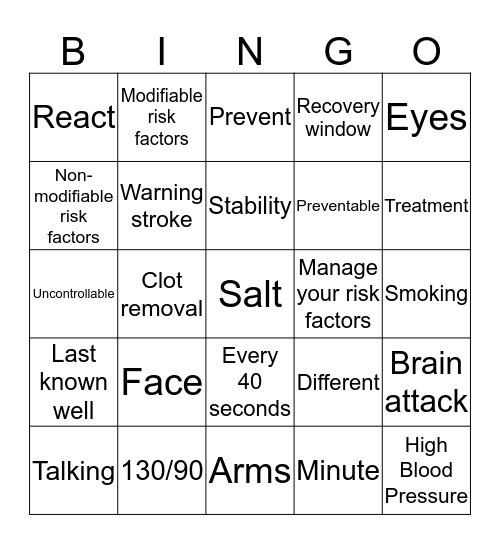Stroke is Treatable & Time is Critical!!! Bingo Card