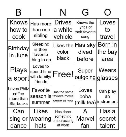 Get To Know People Bingo! Bingo Card