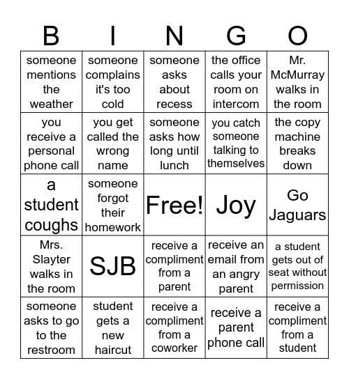 Teacher  Bingo Card