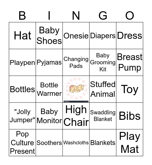 Renée's Baby Shower Bingo Card