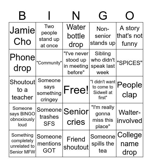 SENIOR BINGO!! CLASS OF 2019!! Bingo Card