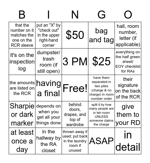 EOY HALL CLOSING! Bingo Card