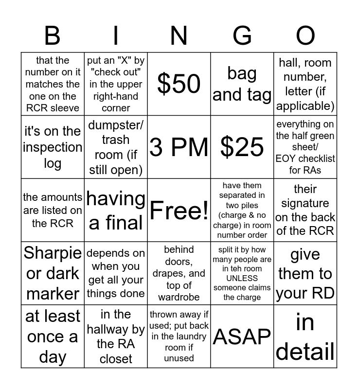 EOY HALL CLOSING! Bingo Card
