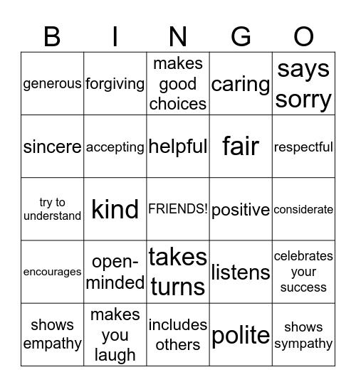 Friendship qualities Bingo Card