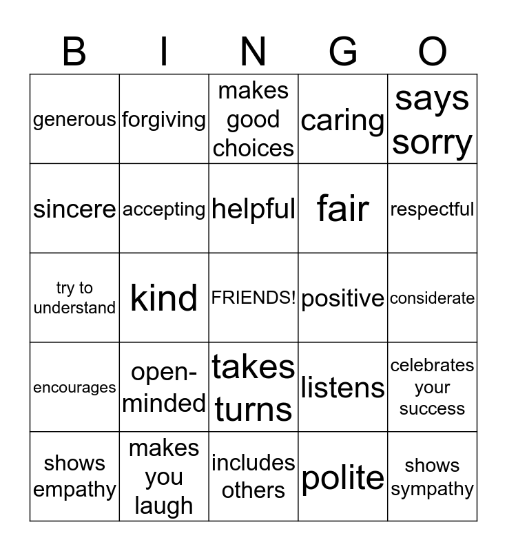 Friendship qualities Bingo Card