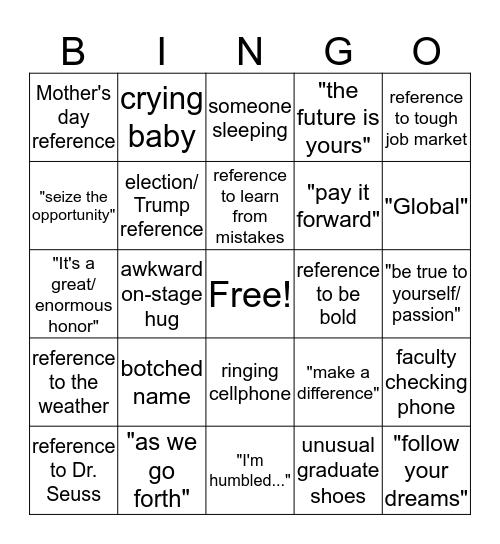 ITEP GRADUATION Bingo Card