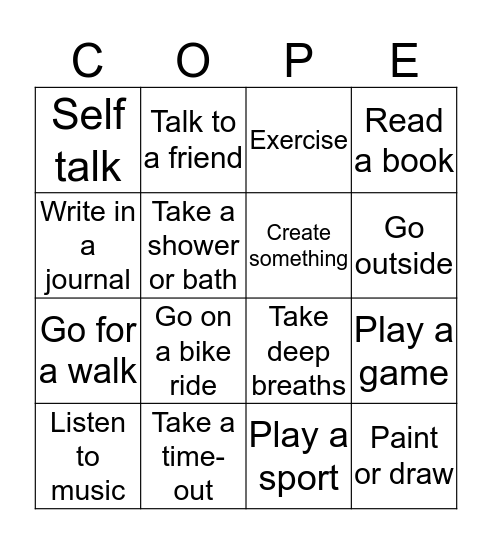 Coping Strategies Bingo Card
