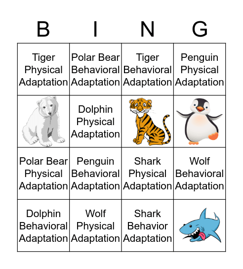 Animal Adaptation Bingo Card