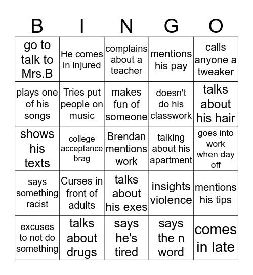 brendan bingo Card