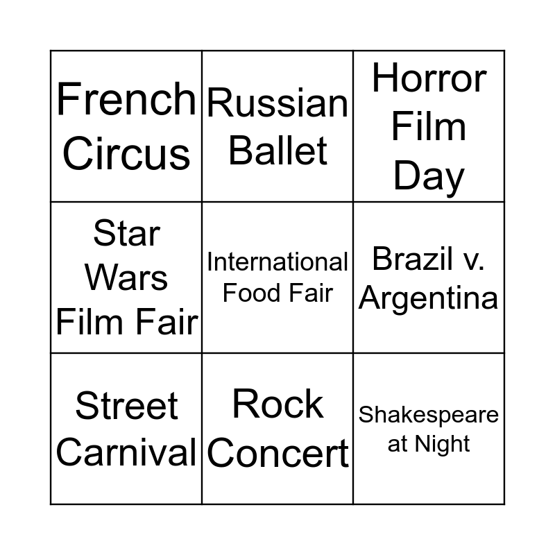 What are you going to do in London?  Bingo Card