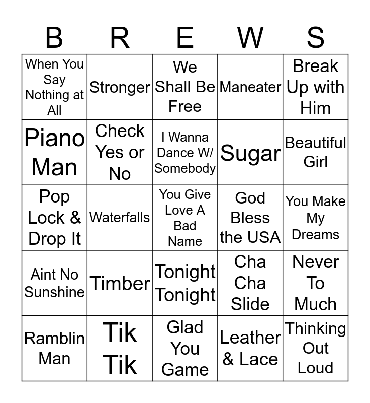 Boondocks Brews, Beats & Bingo 29-15 Bingo Card