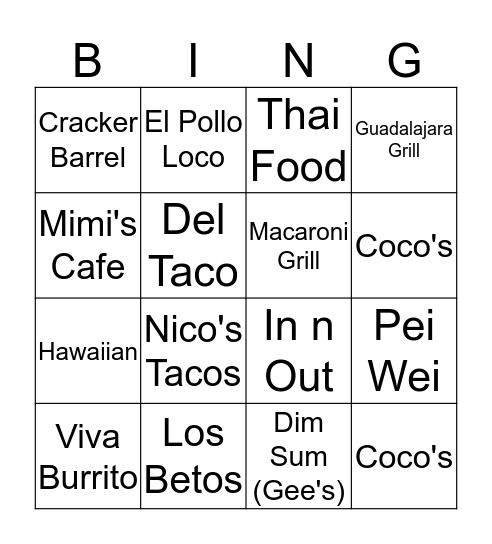 Mama & Papa Lum's Foods Bingo Card