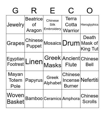 GRECO BINGO Card