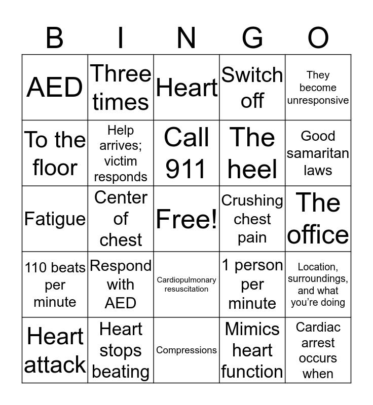 CPR bingo Card