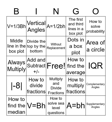 7th Grade FSA Bingo Card