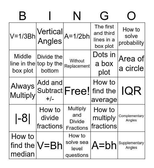 7th Grade FSA Bingo Card