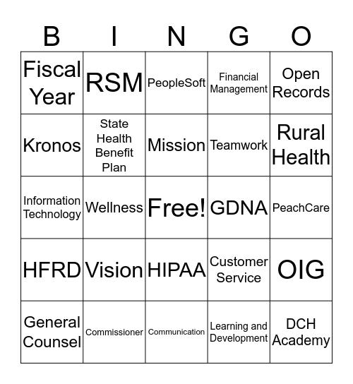 DCH - PERW Bingo Card