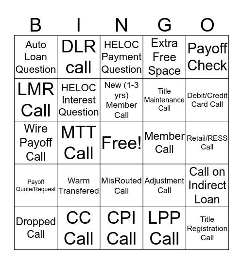Consumer Loan Servicing Call Bingo Card