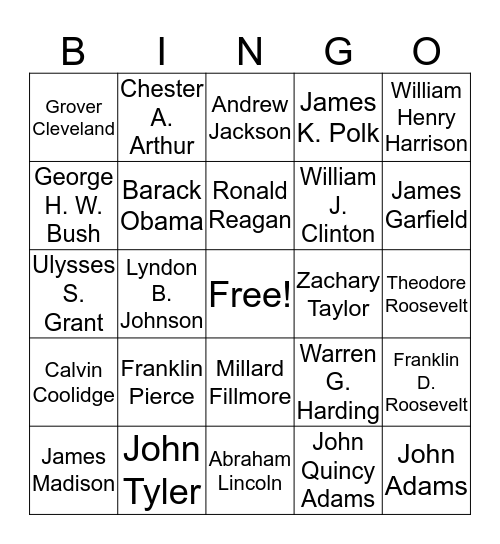 US President Bingo Card