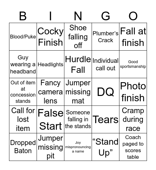 Erie Sectional 2019 Bingo Card