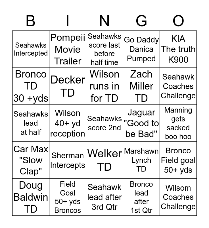 2014 SUPER BOWL BINGO Card