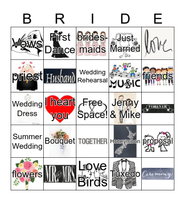Jenny's Bridal Bingo Card