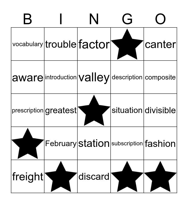 Spelling List 2 Bingo Card