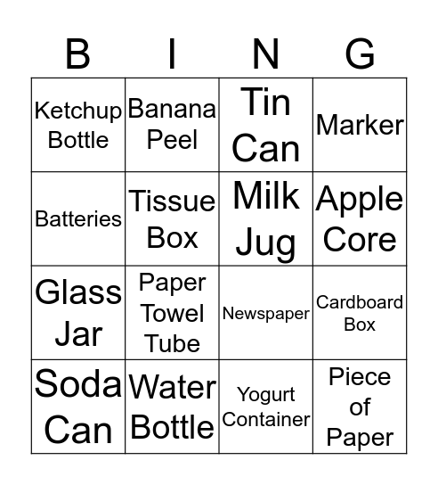 Recycling  Bingo Card