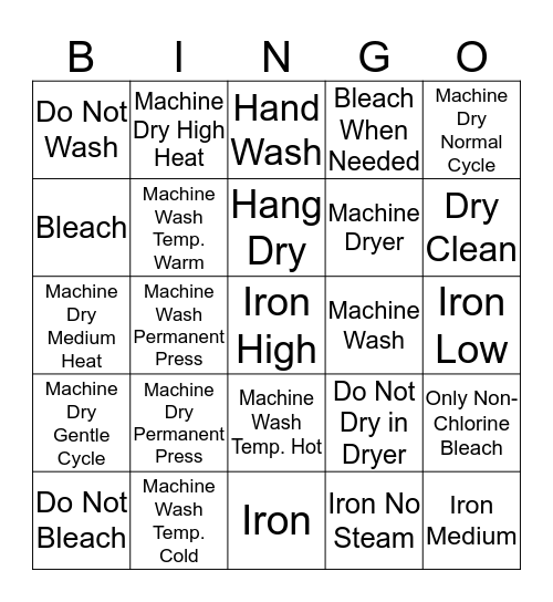 Clothing Care Bingo Card