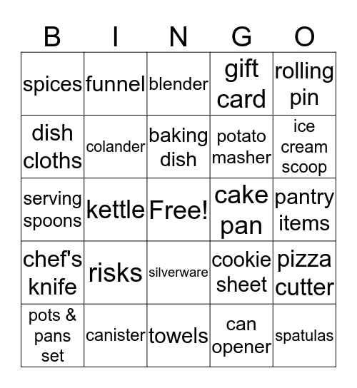 Kitchen Bingo Card