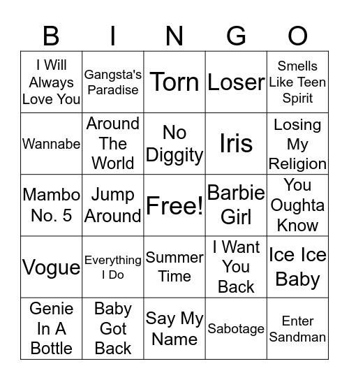 90's Music Bingo! Bingo Card