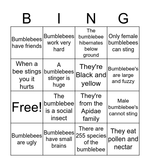 Bumblebee Bingo Card