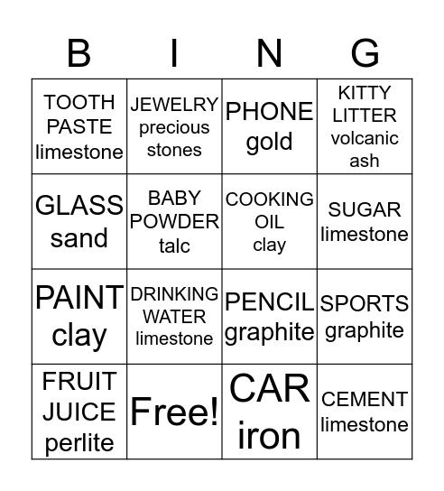 EVERYDAY GEMS & MINERALS Bingo Card