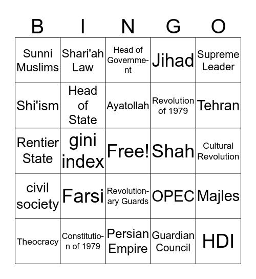 Iran Bingo Card