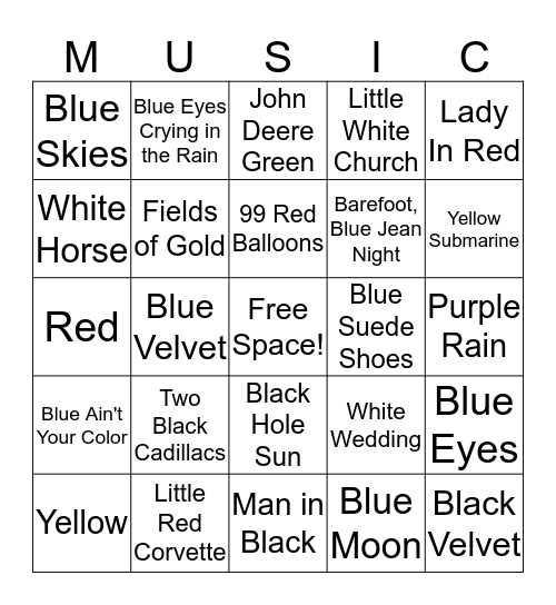 Songs with Colors in the Title Bingo Card