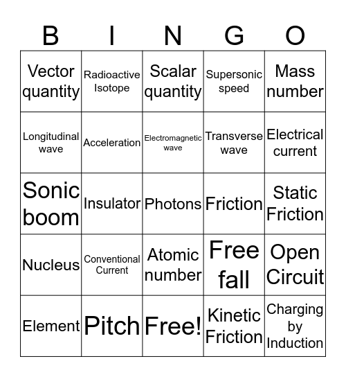 Physical Science Review Bingo Card