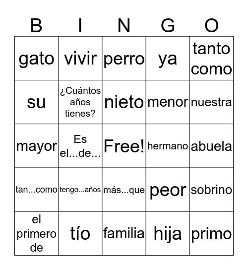 Spanish Avancemos 1 Unit 3, Lesson 2 Bingo Card